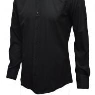 Camasa neagra cu maneca lunga, model slim, design de buline