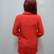 Camasa rafinata, de nuanta rosie, cu maneca lunga si croi evazat