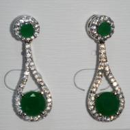 Cercei eleganti cu cristale albe si piatra semipretioasa verde inchis,rosu