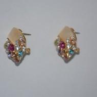 Cercei fashion, cu pietre lucioase, nuante de roz, turcoaz, multicolor