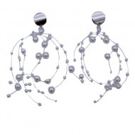 Cercei rafinati,model lung,cu perle si cristal,model mai aparte,nuanta argintiu
