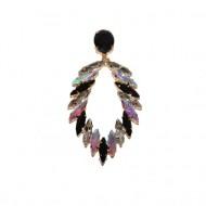 Cercei rafinati tip spic cu cristale,nuanta de negru,auriu,argintiu,bleumarin,rosu si negru-argintiu