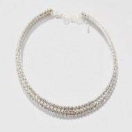 Colier Reina elegant cu cristale ,nuanta argintie