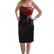 Costum de ocazie de culoare negru-rosu, cu design de dungi