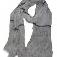Esarfa alba cu design de dungi asimetrice de culoare negru-bej