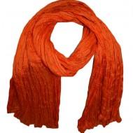 Esarfa fina din matase subtire, design creponat, nuanta portocalie
