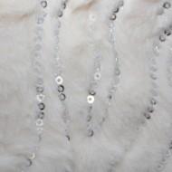 Fulara calduros Dave cu insertii de paiete,model circular,nuanta de alb