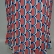 Fusta cu imprimeu abstract, nuanta de bleumarin-rosu