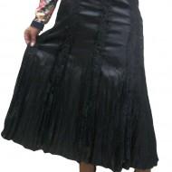 Fusta eleganta, culoare neagra, model lung cu insertii de dantela