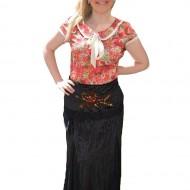 Fusta tinereasca, de culoare neagra, cu model floral din paiete
