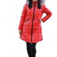 Jacheta Alice ,lunga,design lucios,nuanta de rosu