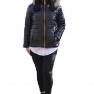 Jacheta calduroasa de toamna-iarna cu gluga detasabila,nuanta de negru