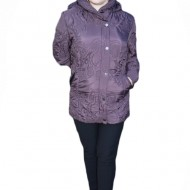 Jacheta cu gluga usoara si practica, de toamna-iarna, culoare mov