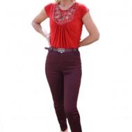 Pantalon chic, de culoare mov, cu design de strasuri aplicate