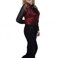 Pantalon clasic, nuanta de negru, talie medie, fermoar clasic