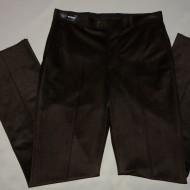 Pantalon la dunga, de culoare maro inchis, cu model in tesatura