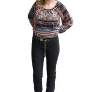 Pantalon lung de culoare neagra cu insertii de piele ecologica