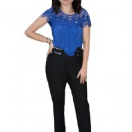 Pantalon modera Catlin cu imprimeu floral,nuanta de negru