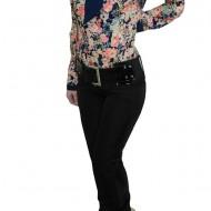 Pantalon rafinat, nuanta de negru, paiete trendy aplicate lateral