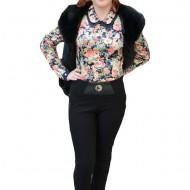 Pantalon trendy, de culoare neagra, din material gros, masura mare