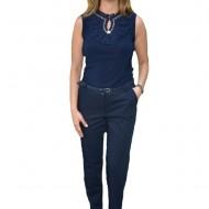 Pantaloni office Medeline cu croi drept,nuanat de bleumarin