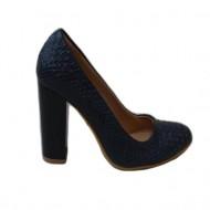 Pantof bleumarin cu model de piele de reptila iesit usor in relief