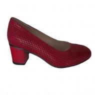Pantof comod cu toc de inaltime medie, din piele ecologica rosie