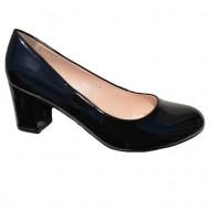 Pantof comod cu toc gros si varf rotunjit, de culoare neagra