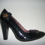 Pantof modern, cu toc inalt patratos, in nuanta negru, din piele