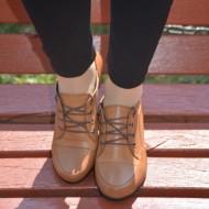 Pantofi casual, maro deschis cu siret BO-2265-NE