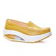 Pantofi dama Avelia sport cu talpa ortopedica,nuanta de galben