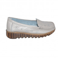 Pantofi perforati cu model si talpa deosebita,auriu
