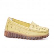 Pantofi perforati cu model si talpa deosebita,galben
