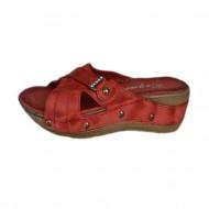 Papuc de vara din piele naturala, rosie, cu aspect marmorat