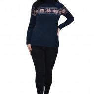 Pulover tricotat Evelin,imprimeu cu motive Christmas,bleumarin
