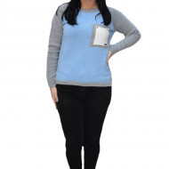 Pulover tricotat Lara,accesorizat cu buzunare,gri-albastru