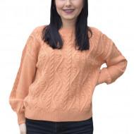 Pulover tricotat Lara cu model rafinat,impletit ,nuanta de portocali