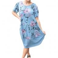 Rochie Agnette, din bumbac, imprimeu floral, nuanta de albastru