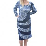 Rochie albastra cu imprimeu cu aspect catifelat usor in relief