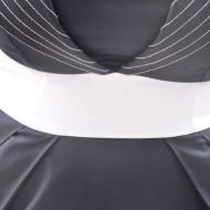 Rochie bleumarin cu panglica alba in talie si fundita in spate