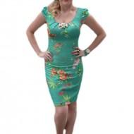 Rochie casual, cu maneca scurta, pe fond turcoaz cu imprimeul floral colorat