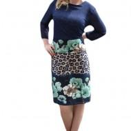 Rochie casual, de culoare bleumarin cu imprimeu floral turcoaz