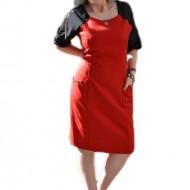 Rochie casual, disponibila in nuante de rosu-negru