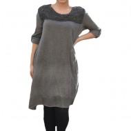 Rochie casual Leylla din tricot cu insertii de broderie ,nuanta de gri