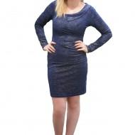 Rochie chic, de culoare bleumarin, cu decolteu interesant si modern