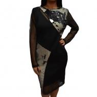 Rochie chic in nuanta de negru cu design de paiete si tul fin