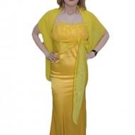 Rochie cu bretele rafinate, nuanta galben, saten lucios