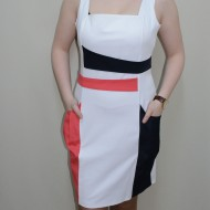 Rochie cu buzunare, nuanta de alb, design fashion