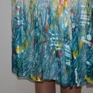 Rochie cu design abstract, nuanta de turcoaz, bretele late