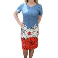 Rochie cu maneca scurta, albastra cu flori alb-rosu, masura mare